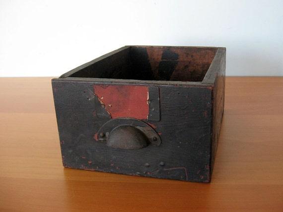 Vintage Industrial Wood Box