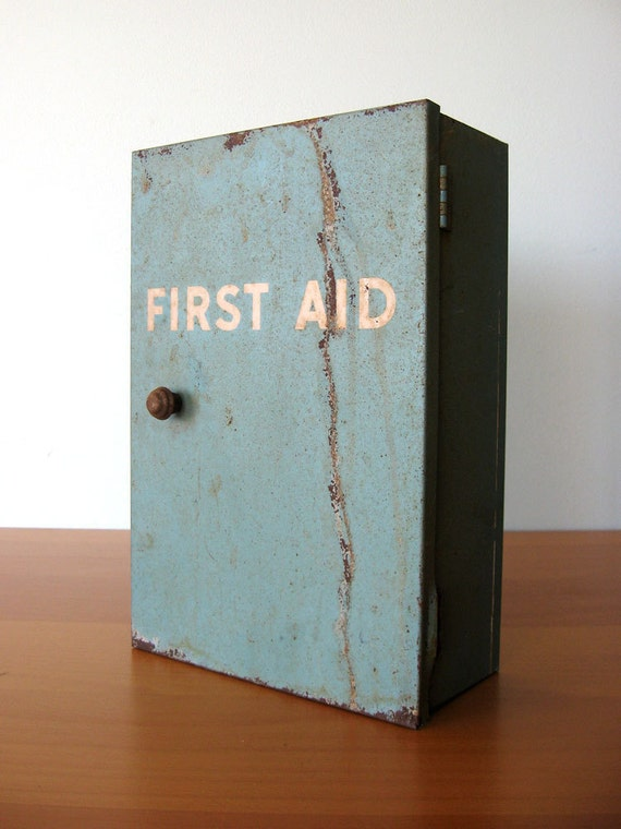 Vintage First Aid Cabinet Industrial Decor