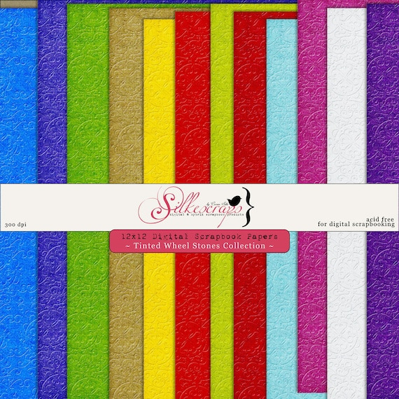 Digital Scrapbook Papers - TINTED WHEEL STONES collection  for card making, scrapbooking - Printable