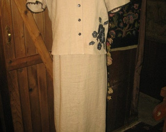 Vintage Beige  Linen 2-PC Dress /SZ 6/Robbie Bee