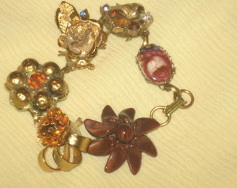 Vintage Earring Bracelet/Shades of Gold/Free Shipping