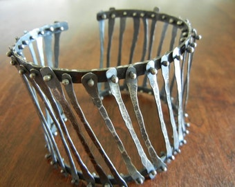 Sterling Silver Cage Cuff Bracelet