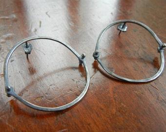 Minimalist Industrial Sterling Silver Hinge Earrings