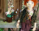 "Folk Art Primitive Cloth Doll - Dickon from ""The Secret Garden"""