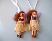 Handmade Fairy Christmas Ornaments, Wooden Peg Clothes Pin Dolls Set of 2 - The Sugar Plum Fairies