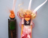 Wooden Clothes Pin Doll Christmas Ornaments, Handmade Fairy Princess and Knight Set