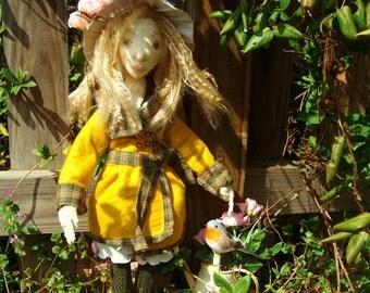 """OOAK Art Doll, Soft Sculpture, Mary from """"The Secret Garden"""""""