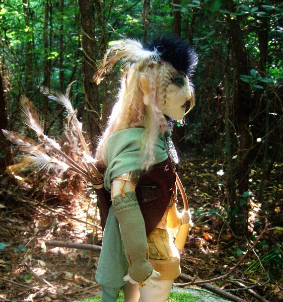 Art Doll, OOAK Fairy, Fantasy Soft Sculpture, Elf Archer Falkon