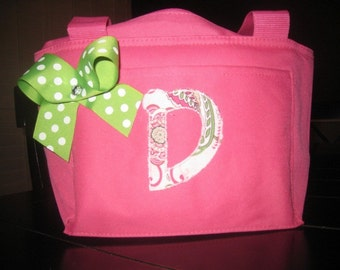 Insulated Lunch Tote with Applique Initial