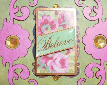 Believe Pink and Green Floral Jeweled Notecard