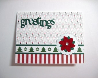 Greetings Poinsettia Set of 6 Handmade Christmas Cards