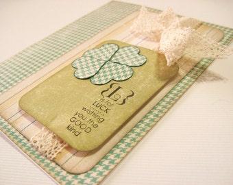 Good Luck 4 Leaf Clover Handmade Card