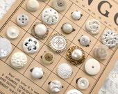 White, Off-White, Ivory Vintage Button Lot - Realistic, Metal, Pierced, etc. -- 0232