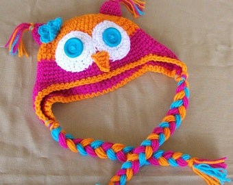 Owl Earflap Hat - Customized Boy or Girl -Infants Toddlers and Children /Photography Prop/ Cbbcreations