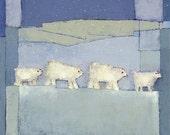 Polar Bears--14X14--archival giclee print