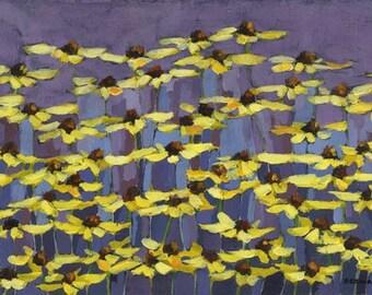Black eyed susan art print/daisy art painting/floral in purple art print/black eyed susan giclee/yellow flower artwork/10x16