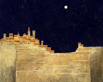 San Gimignano print/ Italian landscape/art/giclee print/fine art