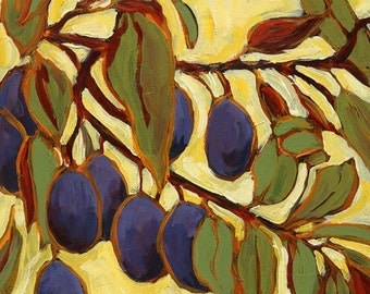 Nine Plums--14x14--archival giclee print