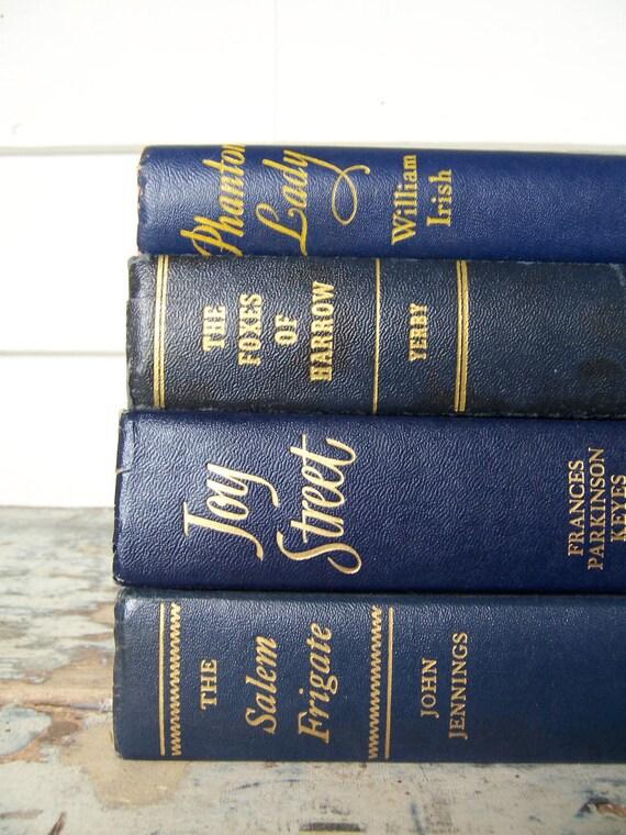 Vintage 4 Book Bundle Instant Collection Novels Old Navy Blue Books 40s
