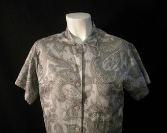 Silver and Gold Paisley Vintage Blouse