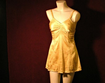 1950's Pin Up Yellow Bathing Suit with Geometric Pattern