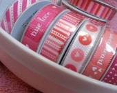 Valentines Day Grosgrain Ribbon Spools- Set of 4 Ribbon Spools