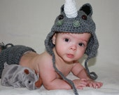 0-3 month rhino hat and diaper cover set