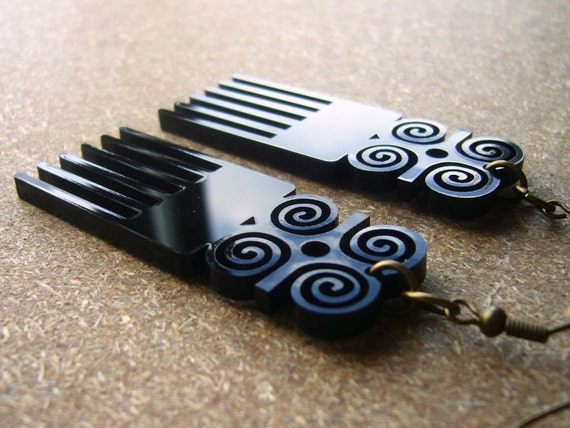 Duafe Afro Comb Dwennemen Earrings Small ON SALE