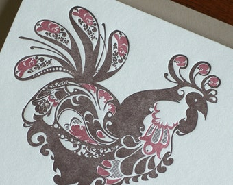 Natalie's Rooster - Letterpress Bird Notecard