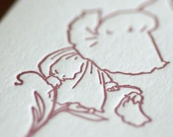 Sue Sits on a Flower - Sunbonnet Babies Letterpress Notecard