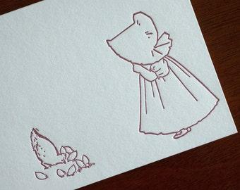 Sue Feeds the Chickens - Sunbonnet Babies Letterpress Notecard