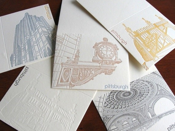 Letterpress Scratch 'n Dent Grab Bag - Pittsburgh 5-Pack