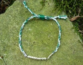 Green, White, and Silver Cord Bracelet with Silver Glass Beads - Men's or Women's