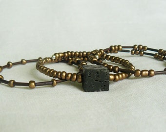 Men's Bronze Beaded Bracelet Trio
