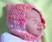 The Isla Hat, HALF OFF,  Newborn Girl,  Pixie Hat, Pink and White,  handknit , bonnet, hat, headwear, Woodland Pixie Baby, ready to ship