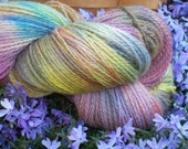 """Hand Dyed,  Peruvian Highland Wool , Fingering Weight , 440 yards, """"WOODSTOCK"""", Various colors, softly blending together ,bright , vibrant."""