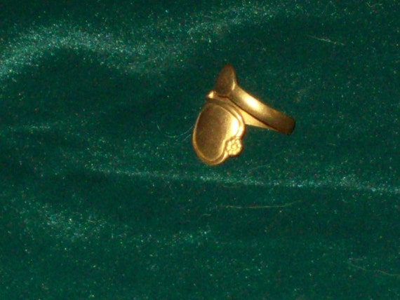 Vintage Gold Plated Brass Metal Spoon Ring Jewelry