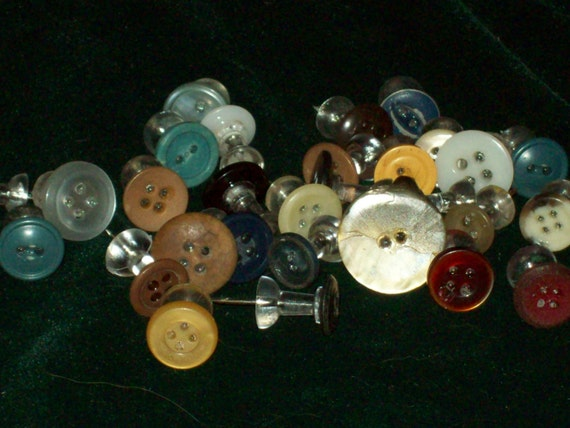 Push Pins, decorated, thumb tacks, tacks, bulletin boards, finished off with Vintage Buttons set of 12 Great for Teachers Gift