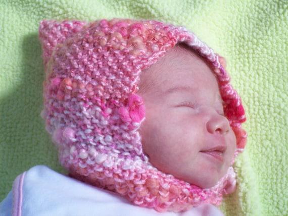 The Isla Hat, HALF OFF,  Newborn Girl,  Pixie Hat, Pink and White,  handknit , bonnet, hat, headwear, Woodland Pixie Baby, ready to ship