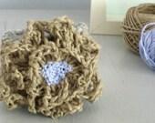 Desert flower, crochet bangle.Hemp rope, lavender and moss green cotton.