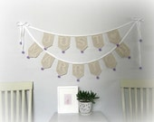 Just Married wedding garland, romantic filet crochet wedding decoration.