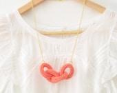 Chain reaction, crochet chain necklace.Peach pink cotton yarn