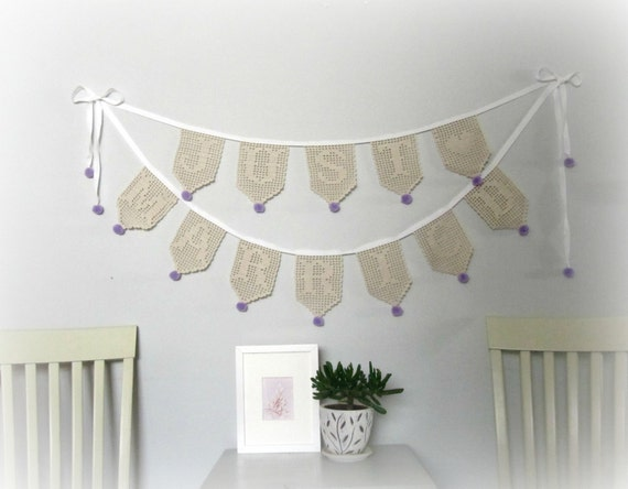 Just Married wedding garland, romantic filet crochet wedding decoration.