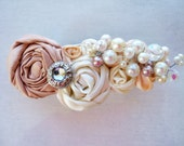 Silk Champagne, Cream, and Peach Hair Barrette