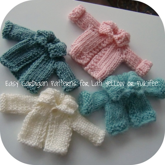 Two Easy PDF Knitted Cardigan Patterns for Lati Yellow and Pukifee