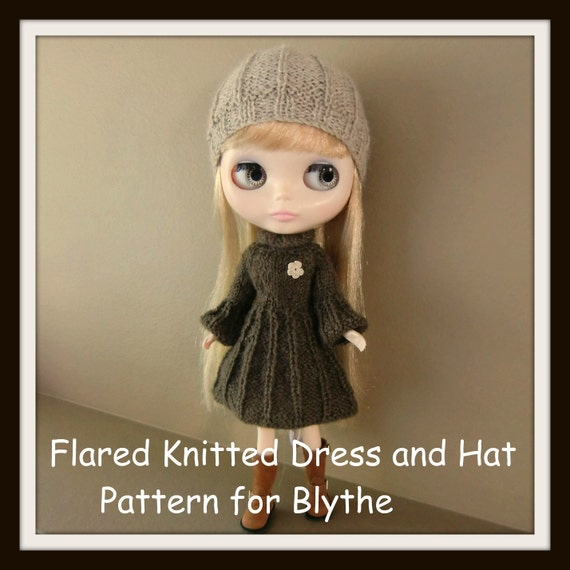 Instant Download PDF Pattern for Flared Knitted Dress and Hat for Blythe