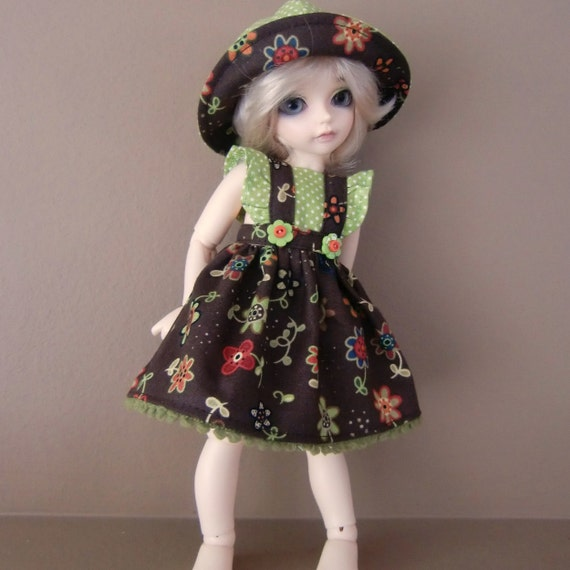 Brown & Green Sundress, Reversible Hat and Bloomers for Littlefee