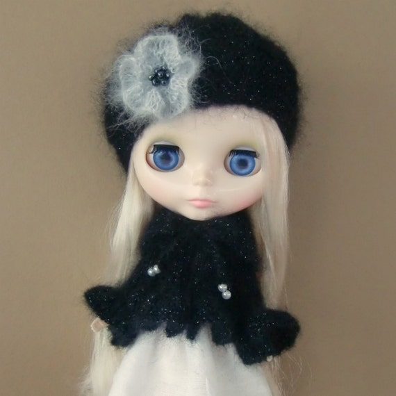 Black Sparkly Kidsilk Sweetie Pie Jacket and Hat for Blythe