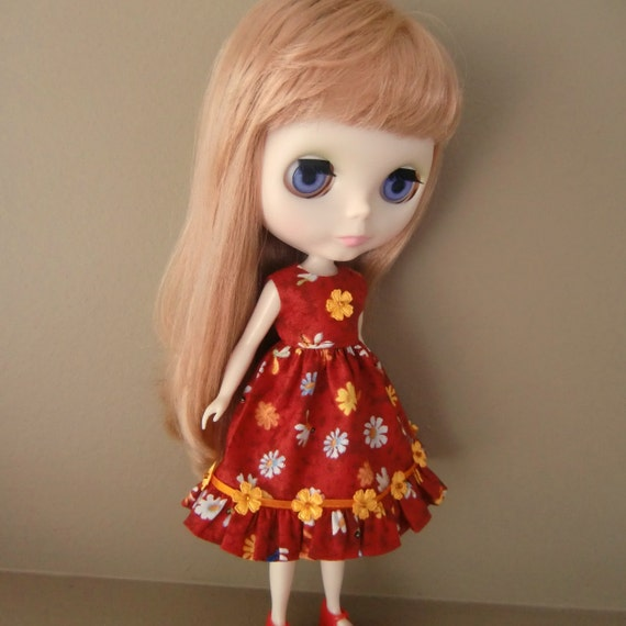 CLEARANCE SALE - Red Floral Summer Dress for Blythe
