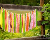 Large Pink, Green, Orange, and Yellow Rag Tie Banner - Ready to Ship